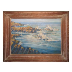 Oil on Board Seascape by Maine Artist Charles Andrew Hafner, 1937