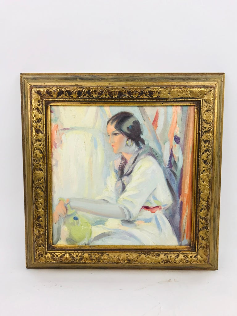 Lovely impressionist oil on board of the profile of a young Native American woman by listed artist Winold Reiss. Signed label on reverse reads