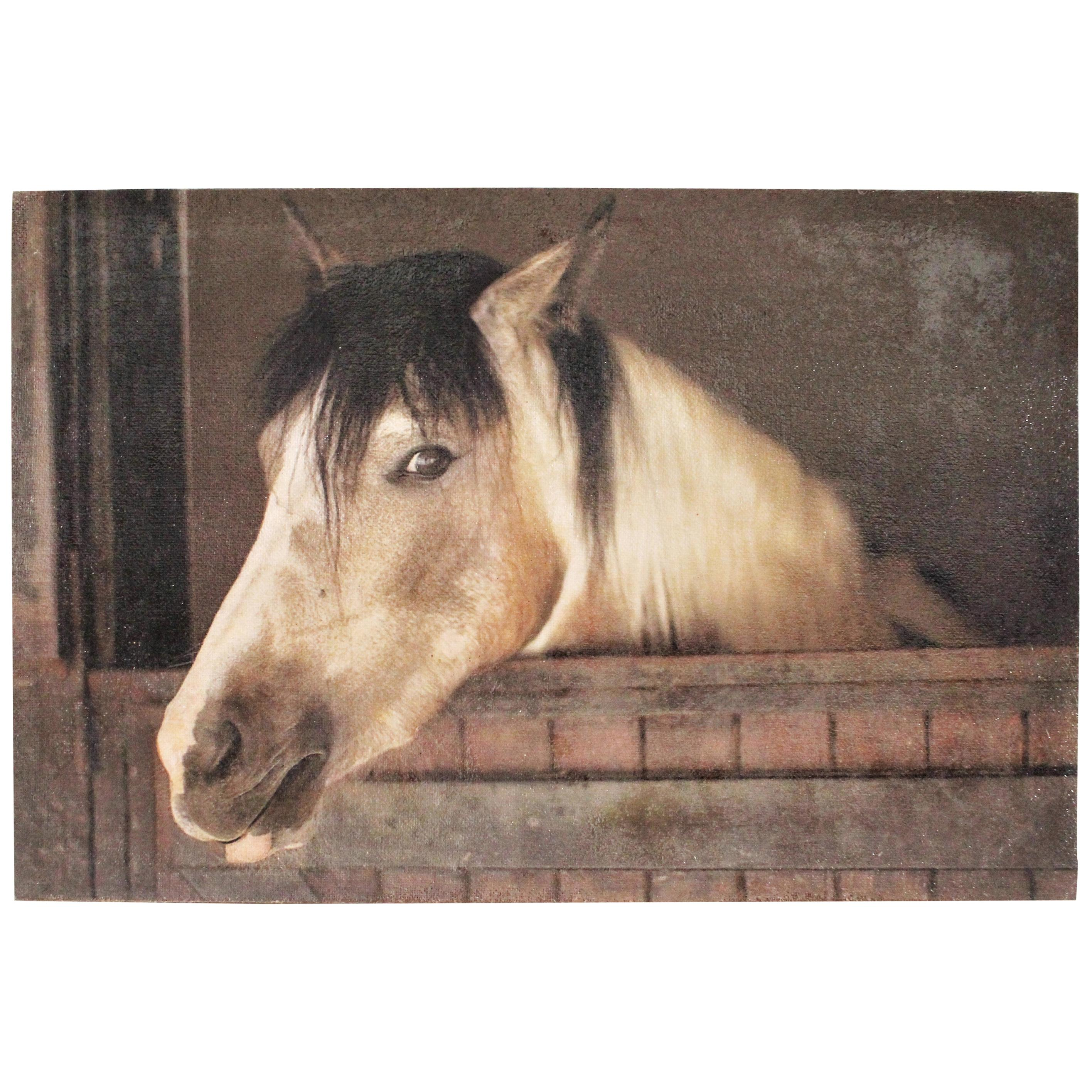 Oil on Burlap Horse Painting
