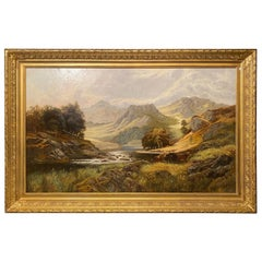 Oil on Canvas Pastoral Scene Cows Grazing at a Riverbank Signed