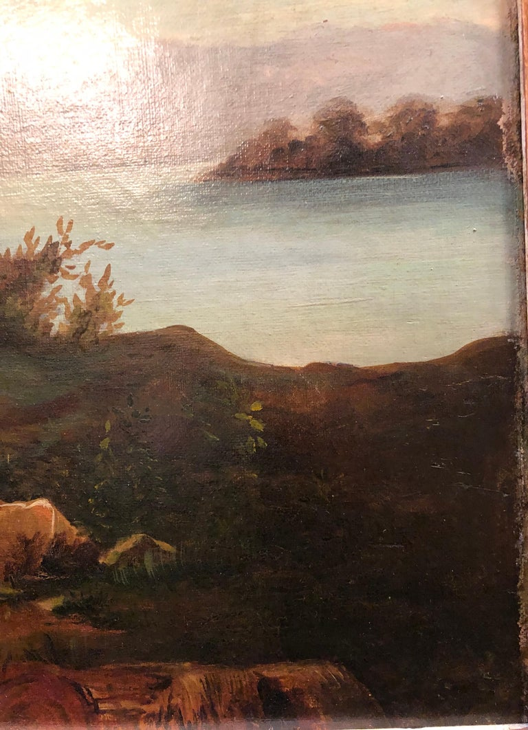 Oil on Canvas 19th Century Signed R. Tyler Mother and Child in the Field For Sale 7