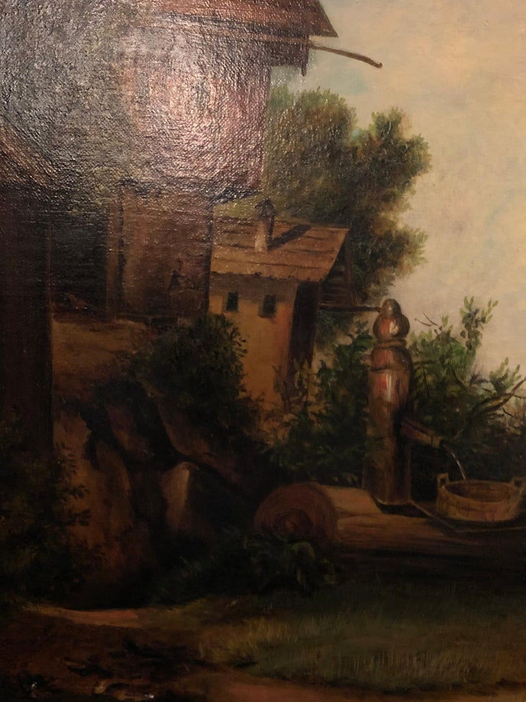 Wood Oil on Canvas 19th Century Signed R. Tyler Mother and Child in the Field For Sale