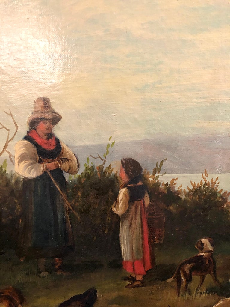 Oil on Canvas 19th Century Signed R. Tyler Mother and Child in the Field For Sale 1