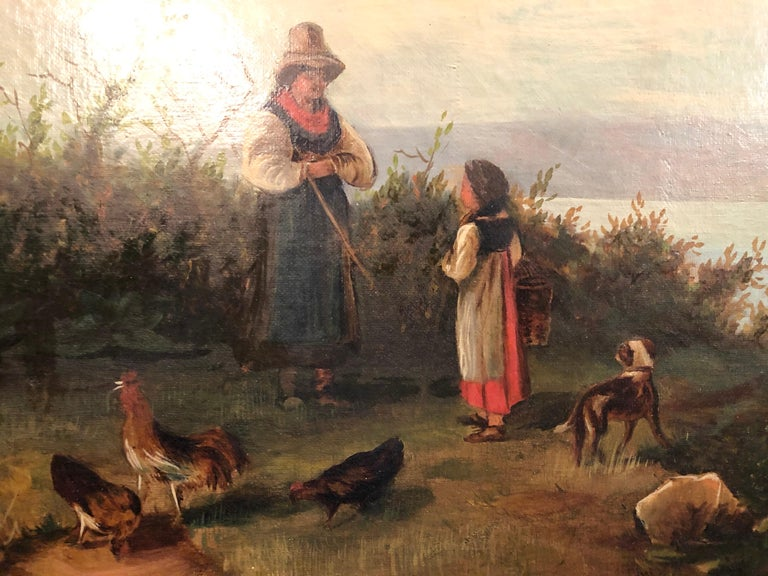 Oil on Canvas 19th Century Signed R. Tyler Mother and Child in the Field For Sale 2