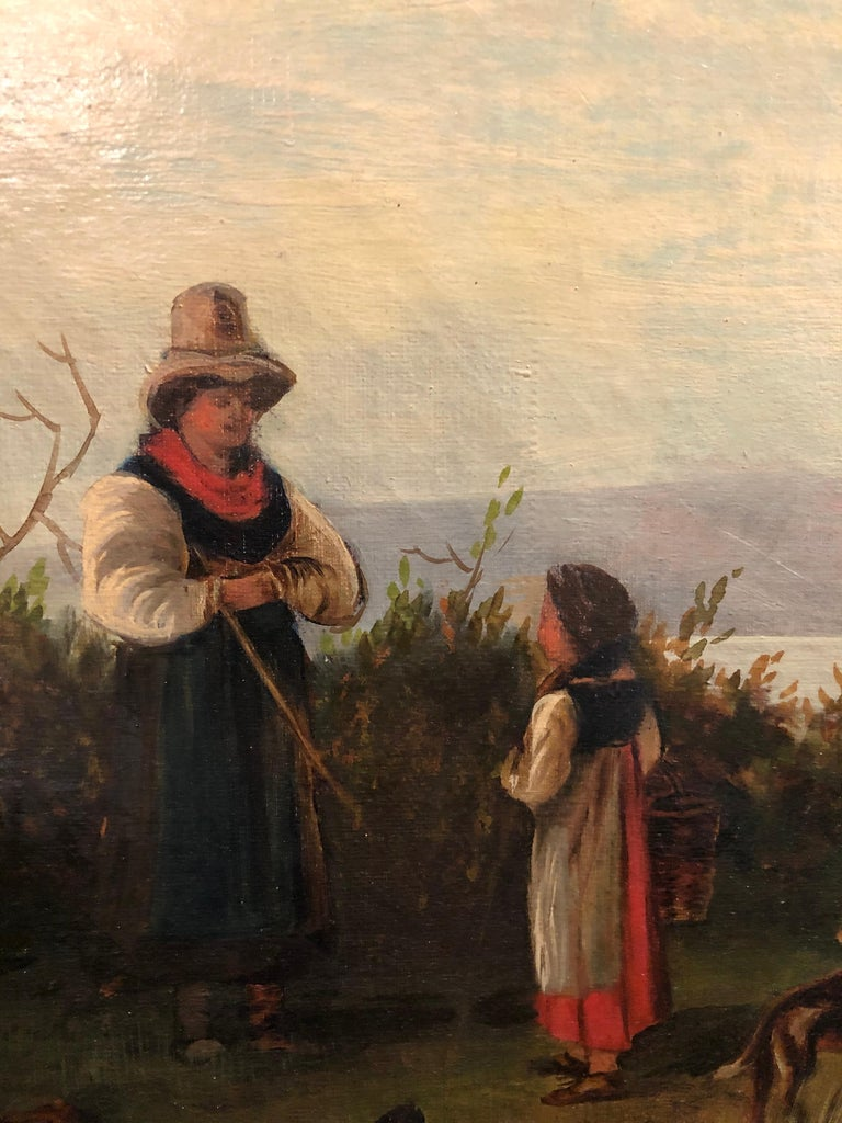 Oil on Canvas 19th Century Signed R. Tyler Mother and Child in the Field For Sale 3