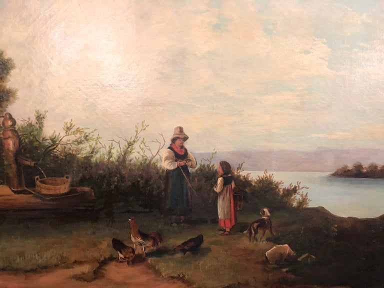 Oil on Canvas 19th Century Signed R. Tyler Mother and Child in the Field For Sale 4