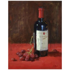 """Oil on Canvas """"A Good Red"""" Bottle of Red Wine and Grapes Scene by Sue Foell"""