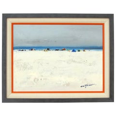 Oil on Canvas; a Serene Impressionist Beach Scene Painting; Signed 'Clifton'