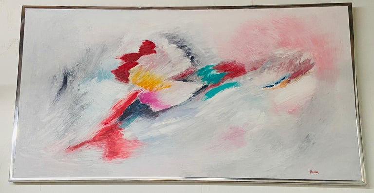 A exquisite large oil on canvas abstract painting signed by artist Rossen This beautiful abstract oil on canvas painting features vivid and pastel colors making it standing out and eye catching. The painting is framed in a chrome custom frame. The