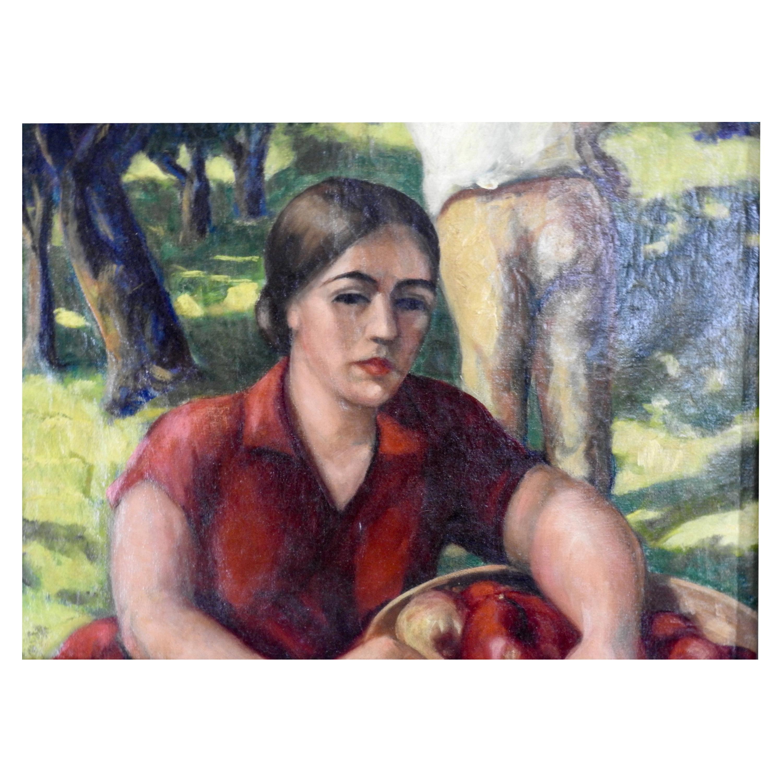 Oil on Canvas Apple Orchard