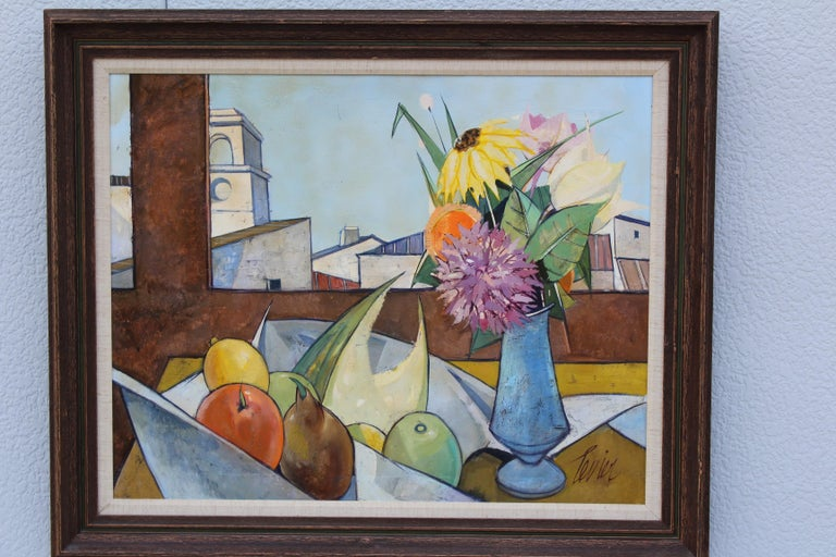 1960s oil on canvas artwork by French artist Charles Levier tittle Dans Le Atelier (1920-2003).  Artwork measurements width 30'', height 24''.  1 of 7 pieces from a private collection.