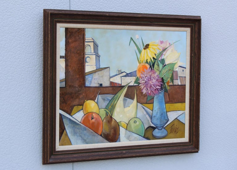 Mid-Century Modern Oil on Canvas Artwork by French Artist Charles Levier For Sale