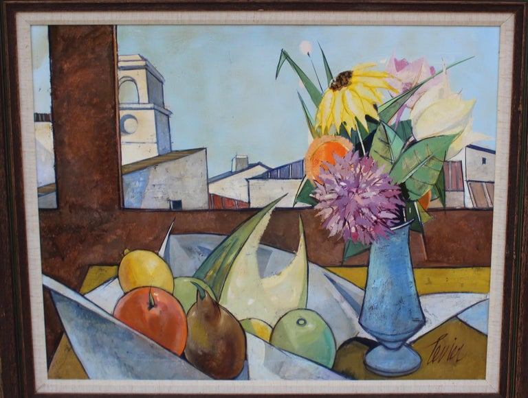 Oil on Canvas Artwork by French Artist Charles Levier In Good Condition For Sale In New York City, NY