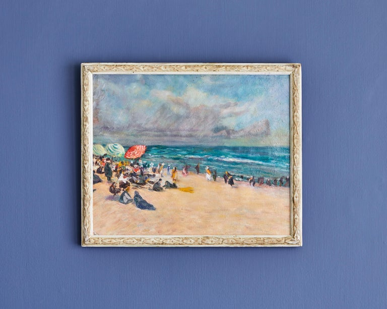 Beautiful beach scene. Oil on canvas. Antique frame. France 19th century.