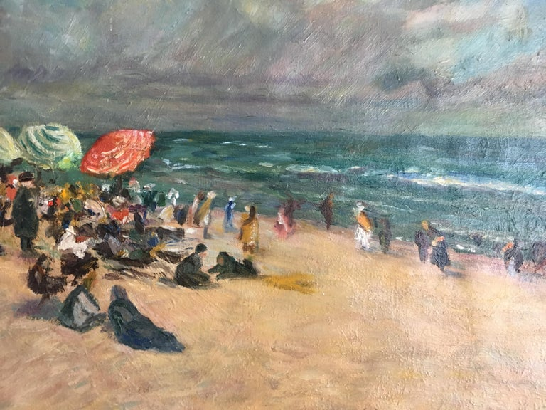 French Oil on Canvas Beach Scene, France 19th Century For Sale