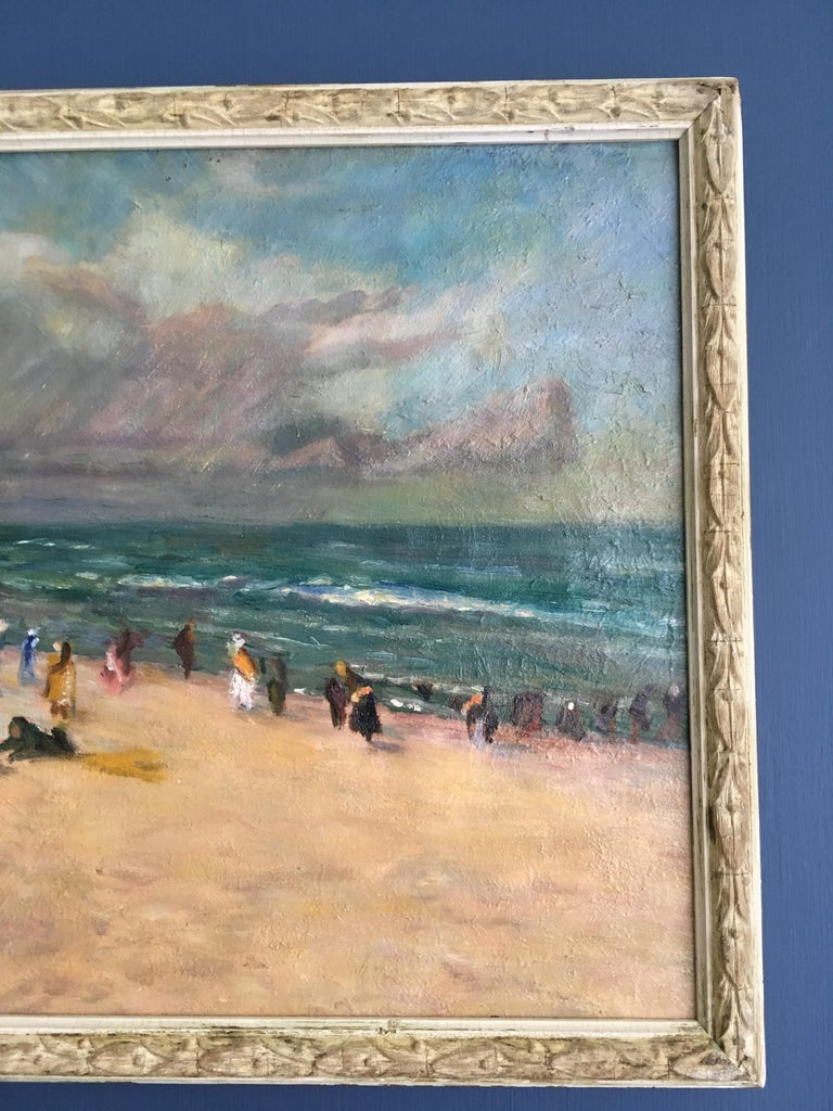 Oil on Canvas Beach Scene, France 19th Century In Good Condition For Sale In Copenhagen K, DK