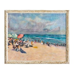 Oil on Canvas Beach Scene, France 19th Century