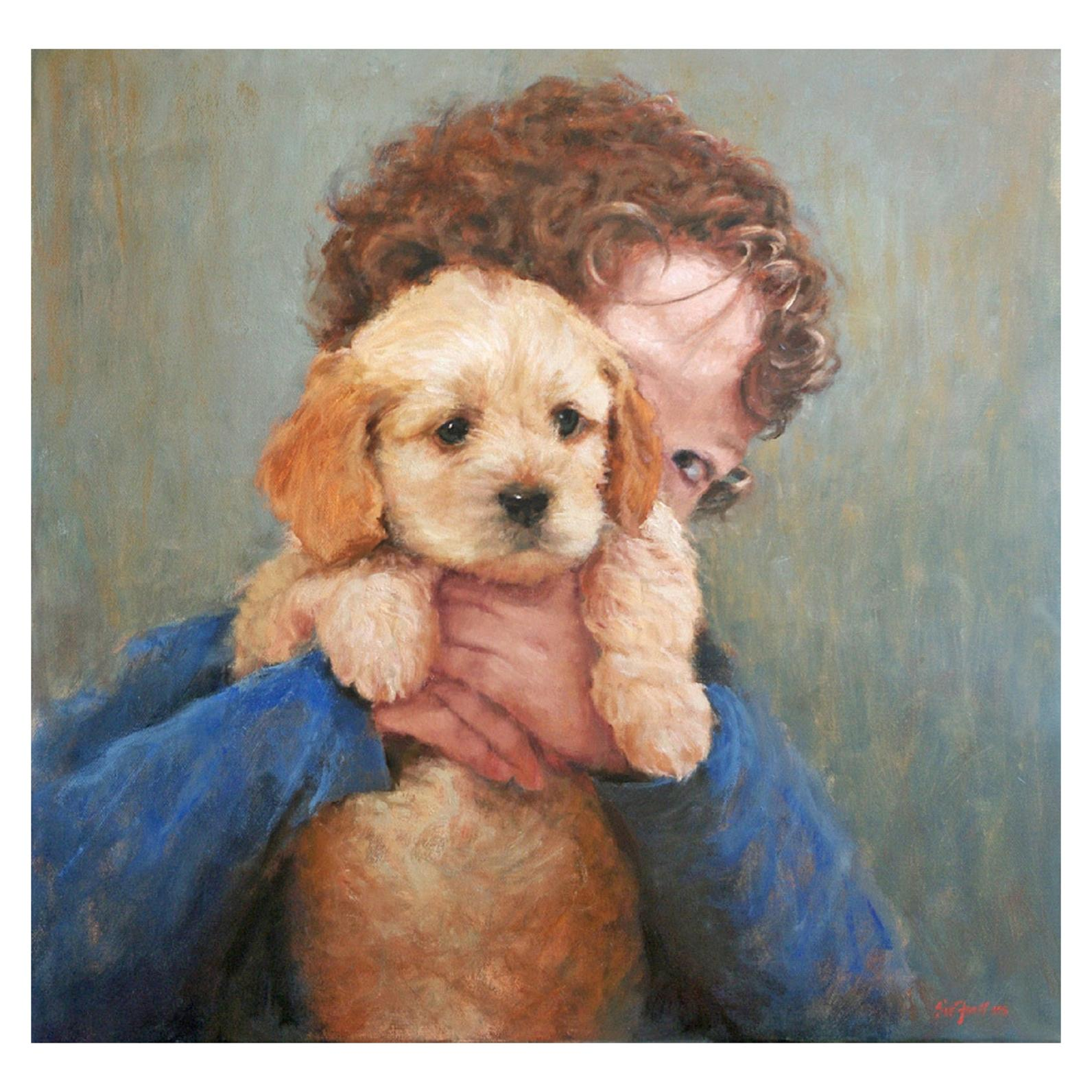 """Oil on Canvas """"Best Friends"""" Boy Holding his Dog Scene by Sue Foell"""