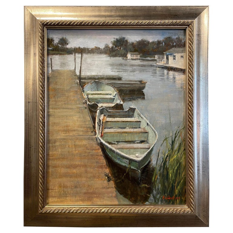 """Oil on Canvas """"Boats on The Bay"""" by Sue Foell For Sale"""