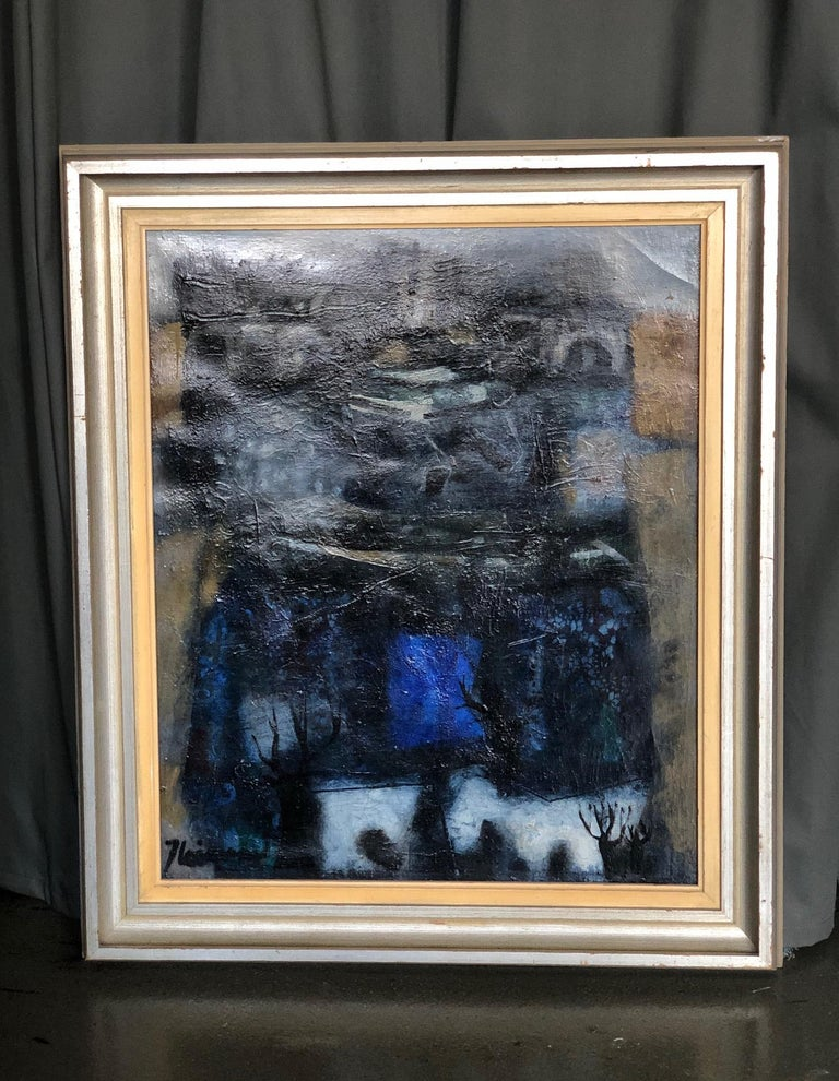 Cityscape oil on canvas painting by James Coignard, France (1925-2008). Signed and framed. Early period. Canvas size 28.5