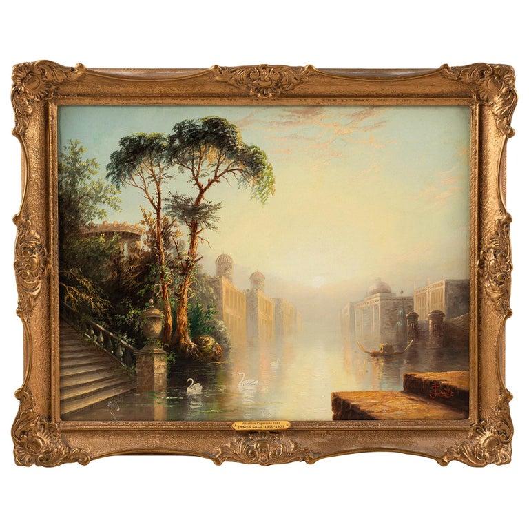 Oil on Canvas by James Salt of 'Venetian Capriccio' 1883 For Sale