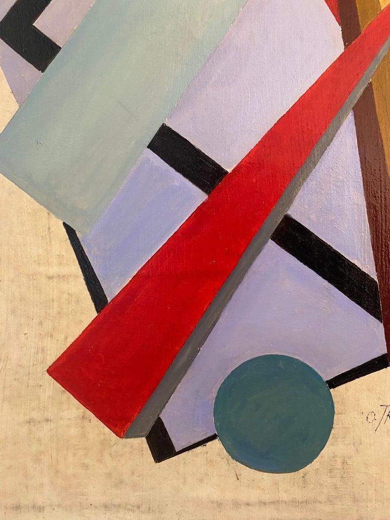 Mid-Century Modern Oil on Canvas by Oscar Troneck For Sale