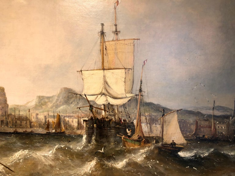 Victorian Oil on Canvas by William Calcott Knell Stormy Fishing Scene For Sale