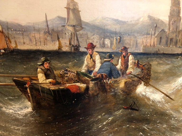 English Oil on Canvas by William Calcott Knell Stormy Fishing Scene For Sale