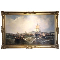 Oil on Canvas by William Calcott Knell Stormy Fishing Scene