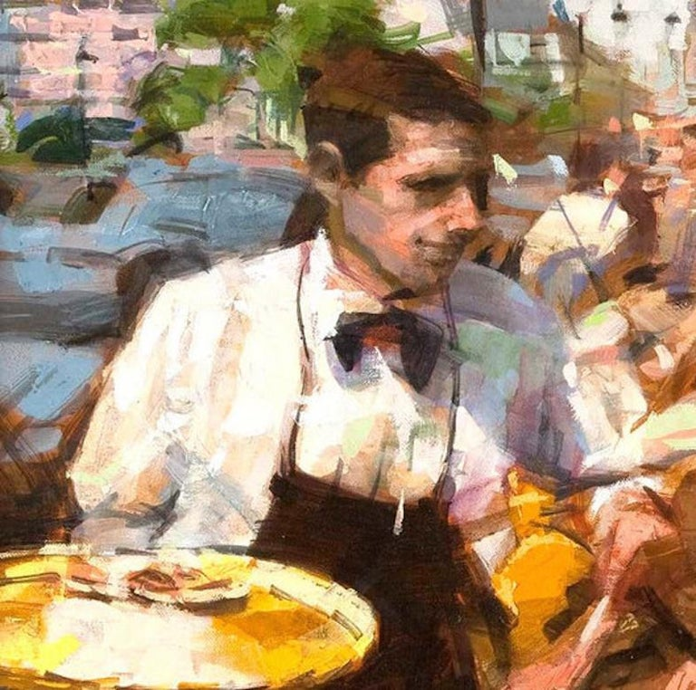 Other Oil on Canvas 'Cafe Scene' by Eugene Segal For Sale