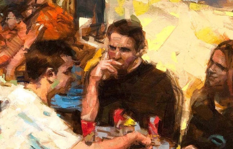 Russian Oil on Canvas 'Cafe Scene' by Eugene Segal For Sale