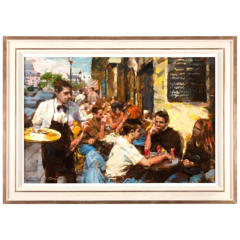 Oil on Canvas 'Cafe Scene' by Eugene Segal For Sale