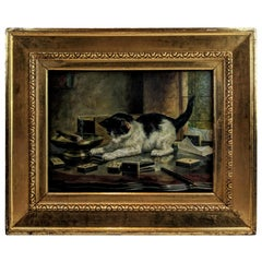 Oil on Canvas Cat Playing with Matchbook by Arthur Wardle, British 1864-1949