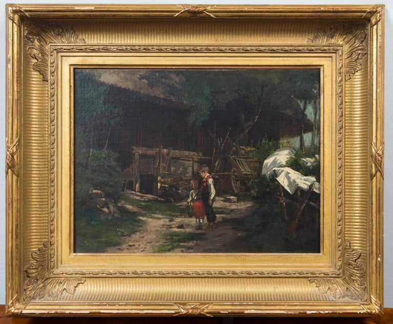 This painting of two children in a yard with a wagon and building is signed lower right Edgar Melville Ward. He was an Ohio artist born in 1839 and died 1915.