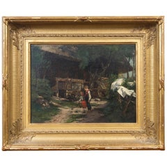 Oil on Canvas Children in a Yard, Signed