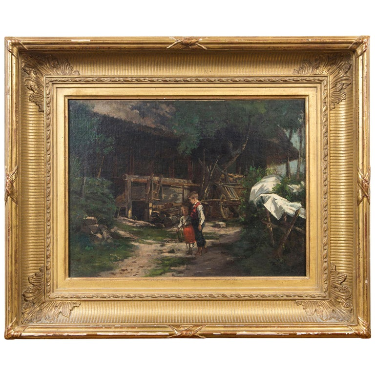 Oil on Canvas Children in a Yard, Signed For Sale