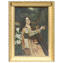 Oil on Canvas Classical Portrait Painting of Young Woman Harpist, 19th Century