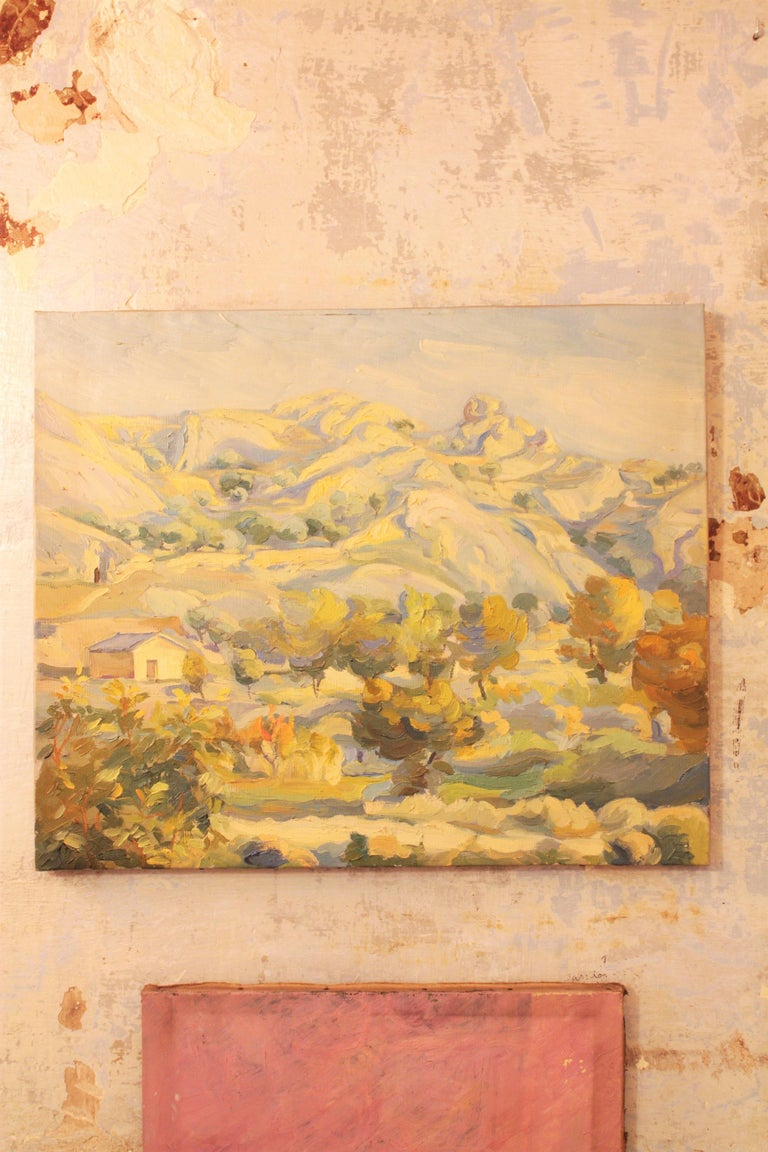 Spanish Oil on Canvas Countryside Landscape Painting, Spain, 1930s For Sale