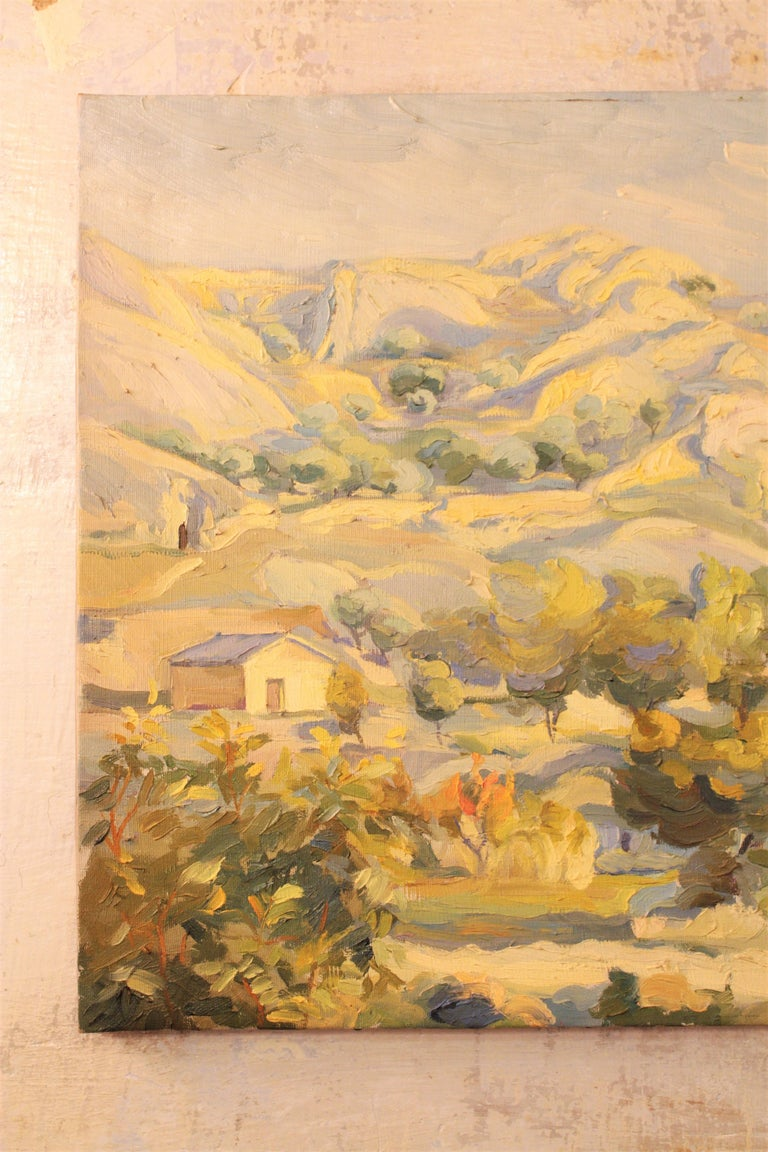 Hand-Painted Oil on Canvas Countryside Landscape Painting, Spain, 1930s For Sale