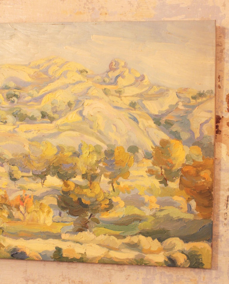 Oil on Canvas Countryside Landscape Painting, Spain, 1930s In Good Condition For Sale In Barcelona, ES