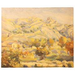 Oil on Canvas Countryside Landscape Painting, Spain, 1930s