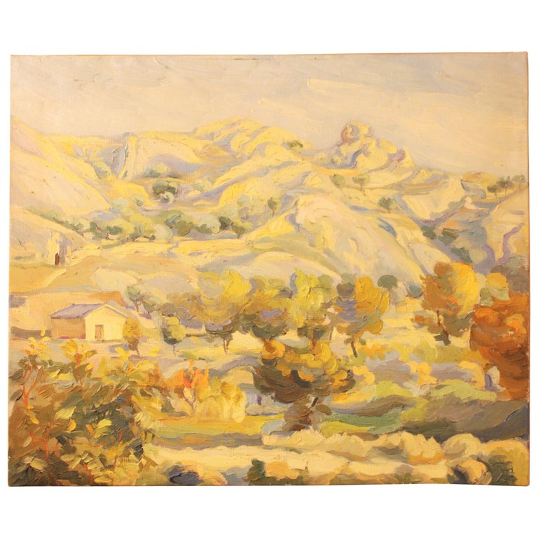 Oil on Canvas Countryside Landscape Painting, Spain, 1930s For Sale