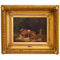 "Oil on Canvas ""Cow at a Water Trough,"" Henry Walcott Boss, Hudson River School"