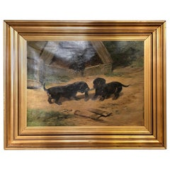 "Oil on Canvas ""Dachshund Puppies at Play"" by Simon Ludvig Ditlev Simonsen"