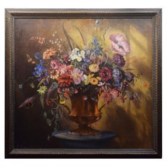 Oil on Canvas Depicting Still Life of Flowers