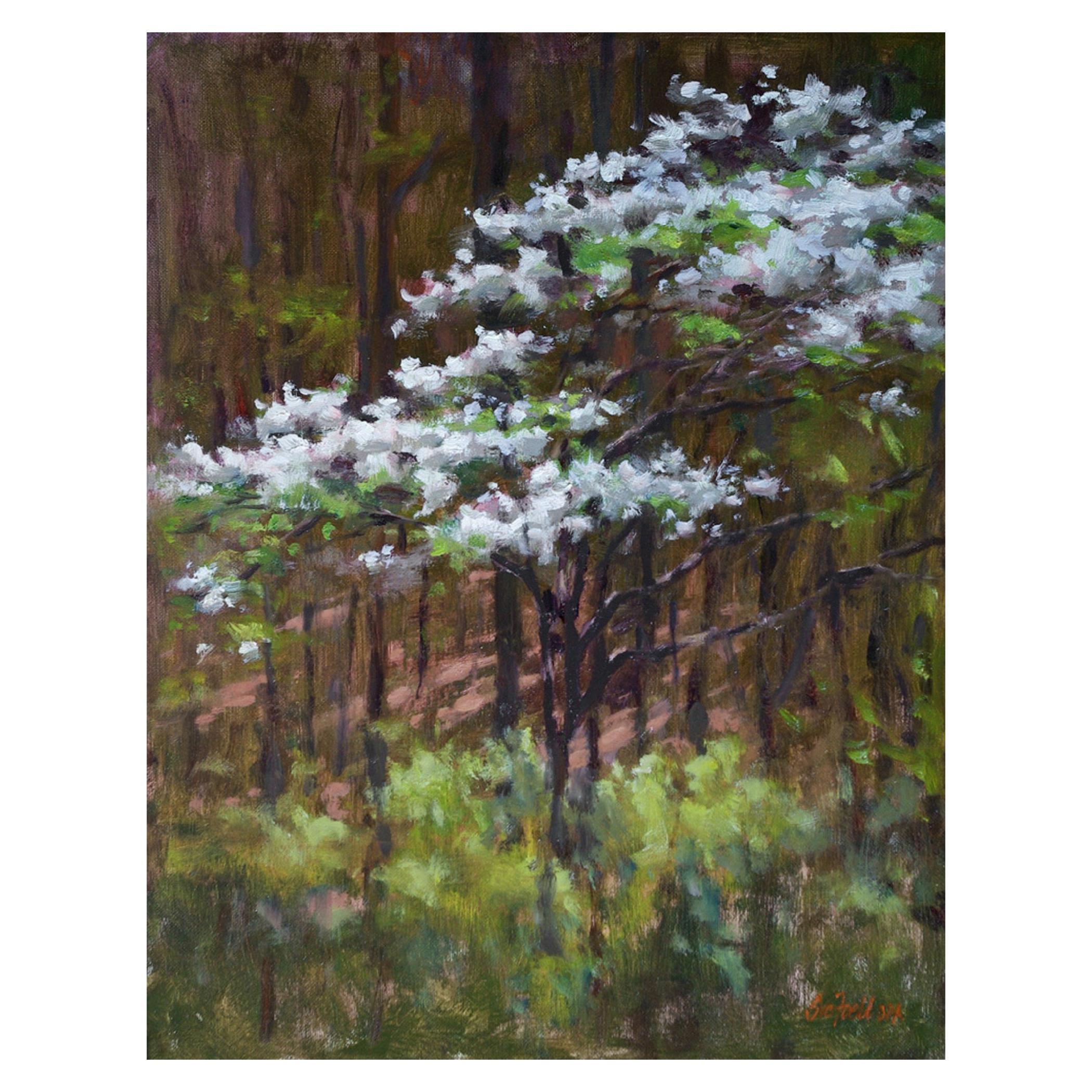 "Oil on Canvas ""Dogwood"" Dogwood Tree Scene by Sue Foell"