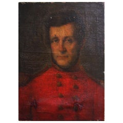 Oil on Canvas English School Young Officer Fitzgerald in Scarlet Tunic