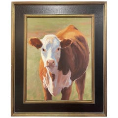 """Oil on Canvas """"Face to Face"""" Cow Scene by Mary Segars"""
