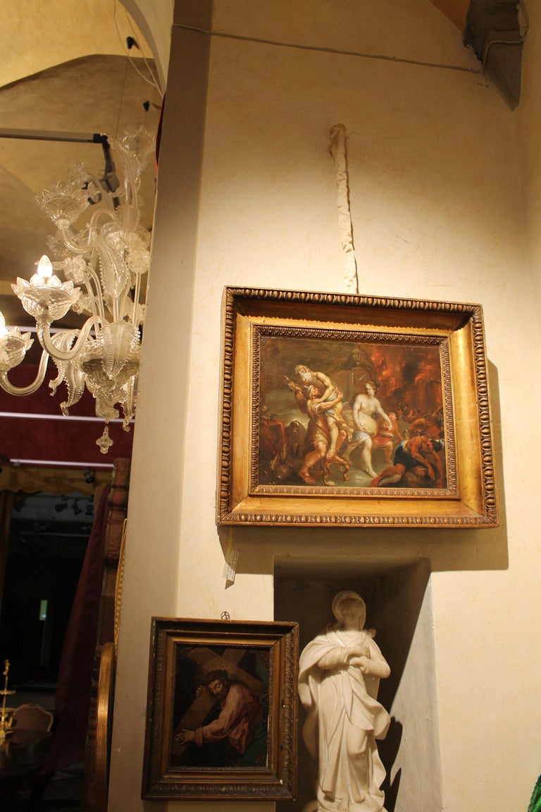 French 19th Century Oil on Canvas Mythological Scene Painting in Gilt Wood Frame In Good Condition For Sale In Firenze, IT