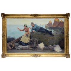 Oil on Canvas 'Fisherman and women' by Percy R. Craft, 19th Century